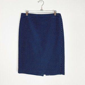 J Crew No. 2 pencil skirt blue white poka dot sz 8